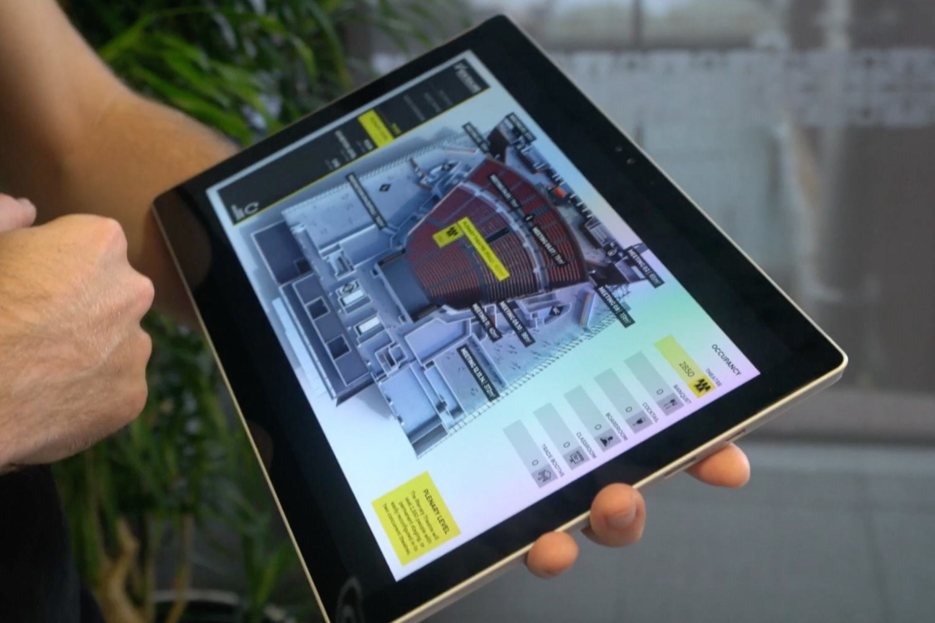 NZICC interactive floor plan displayed on tablet